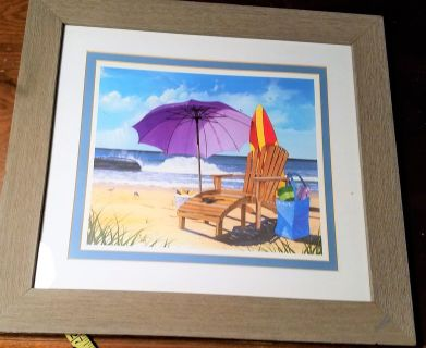 "(2) Beach Ocean 20.5"" x 18"" Framed Picture Umbrella 20.5"" x 18"" Adirondack Chair Vacation Relax ..."