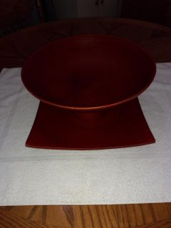 Beautiful red World Market Bowl and Plate.