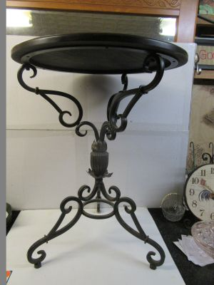 """nice little solid wood and wrought iron table 20"""" x 26"""" tall see top pic. below"""