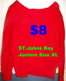 St. Johns Bay Red Sweater, Juniors XL. IN PERFECT CONDITION