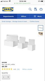 IKEA Skubb Boxes, 3 packs of 6 Boxes