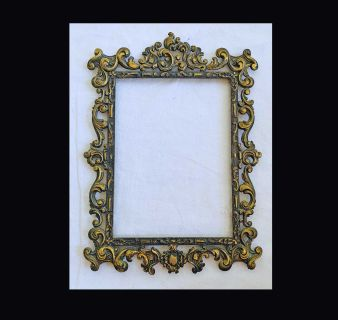 Italian Antique Brass Victorian Carved Frame