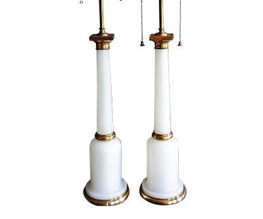 Warren Kessler White Opaline Glass Lamp Pair