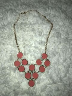 Short Gold Chain Pink Circle Necklace