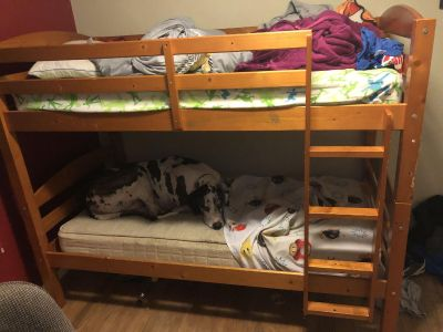 Twin bunk bed with mattresses