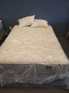 Queen firm mattress and box spring and with frame