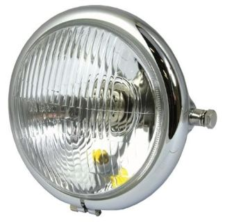 "Find Bike-It Chrome 5 3/4"" Bates Side Mount Round Single Headlight High Low Beam motorcycle in Ashton, Illinois, US, for US $52.99"