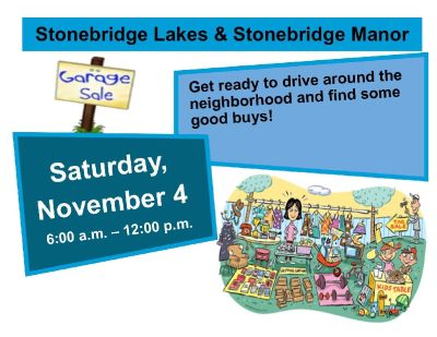 Stonebridge Lakes & Stonebridge Manor Community Garage Sale NOV 4