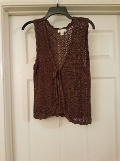 LARGE, CHRISTOPHER BANKS, BROWN CROCHET VEST, EXCELLENT CONDITION, SMOKE FREE HOUSE