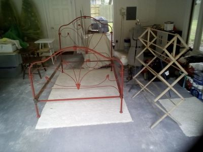 Antique Red Iron Bed