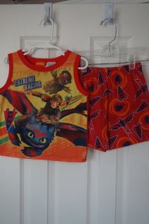Boys Dreamworks Train Dragon 2-Piece Pajama Set Size 4T