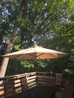 FREE 7.5 Foot Patio Umbrella with Weighted Base