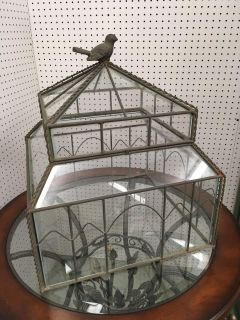 Large Glass and Iron Decorative Bird Cage