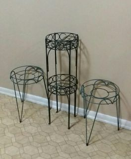 THREE/WROUGHT IRON/PLANT STANDS.......EXCELLENT CONDITION