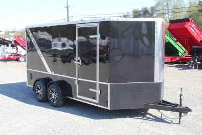 7x14 Blacked Out Motorcycle Trailer with Interior PKG