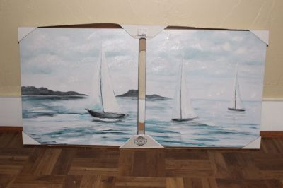 Brand new double canvas sailboat painting