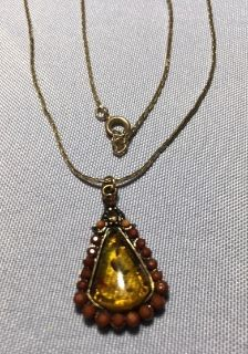 Amber Vintage Pendant on Vintage Chain Rootbeer Colored Faceted Stones Border Critters in Amber