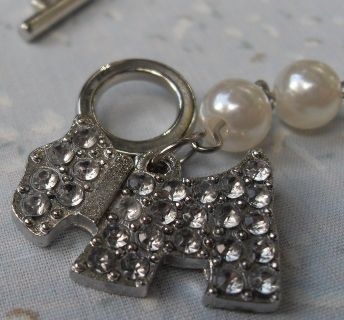 Bling Dog Bracelet White Pearls Small Wrist Toggle Clasp Vintage Piece New