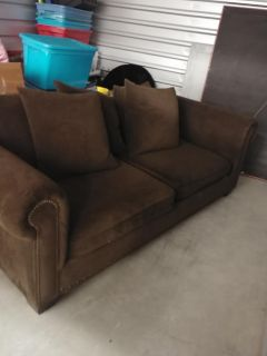 Chocolate brown couch w/matching ottoman