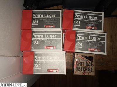 For Sale: Aguila 124g 500rd + Hornady Critical Defense 9mm 49rd