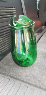 Small glass green pitcher