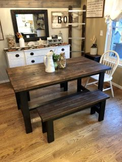 Solid wood rustic kitchen table and 2 benches