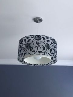Hanging black and white floral Drum light
