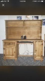 handcrafted pine wood desk with hutch
