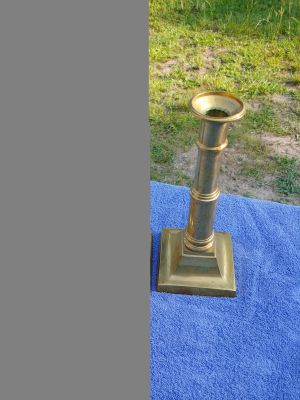 2 tall heavy brass candle holders