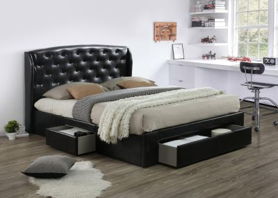 BLACK PLATFORM STORAGE BED WITH DOUBLE SIDED STORAGE DRAWERS