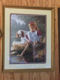 Girl with her Dog Picture. 211/2 x 171/2 .