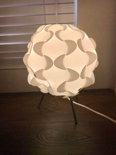 White jigsaw puzzle lamp from ikea.