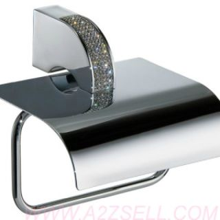 Carmen Toilet Paper Holder with Lid. Swarovski Crystal
