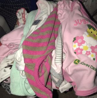 Box of 0-3 month old baby girl clothes