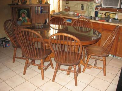 Solid Oak Dining Room Table with Glass Top 6 chairs