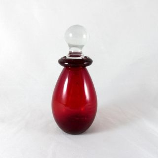 Vintage Ruby Red Glass Perfume Bottle Decanter