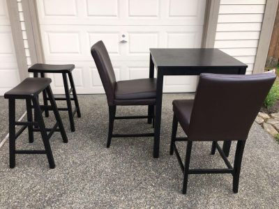 Table, two chairs , 2 bar stools