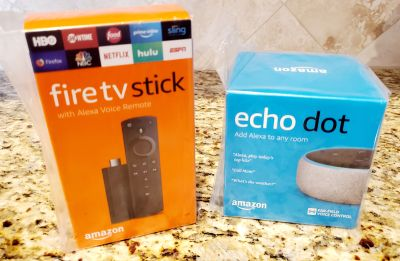 Echo Dot (3rd Gen) - Smart speaker with Alexa & Fire TV Stick with Alexa Voice Remote ***NEW***