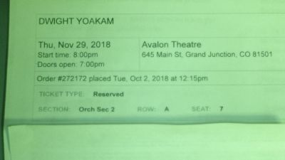 Dwight Yoakam tickets for November 29th