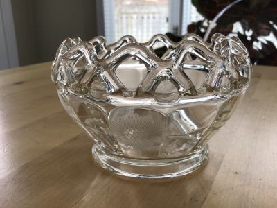 "Vintage Imperial Glass ""Crocheted Edge"" rose bowl"