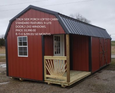12x24 Side Porch Lofted Cabin