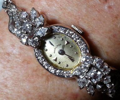 Ladies 14kt white gold diamond bracelet watch