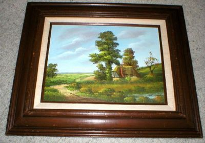 Original Oil on Canvas - Old Country Cottage - Framed Vtg Art - Signed