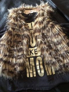 Adorable size small (7/8 ish) browns/tans furry vest.