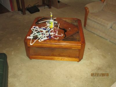 Coffee Table, All wood with partial glass top