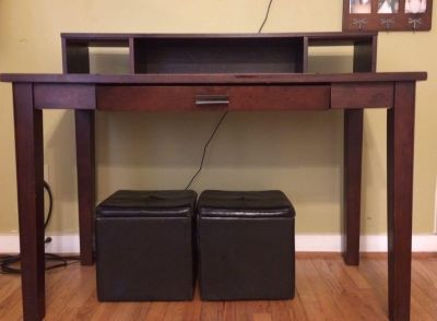 Solid wood World Market desk with detachable hutch