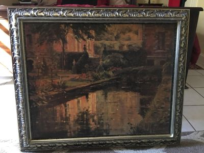 Ornate framed canvas picture