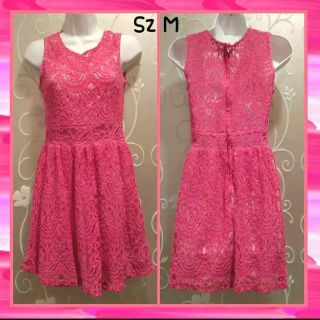 WOMENS PINK LINED LACE DRESS SZ M