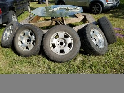 4 Chevy GMC 6 Lug Factory Wheels with good bald tires......... $200 obo