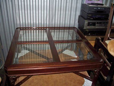 GORGEOUS vintage mahogany table w/glass inserts